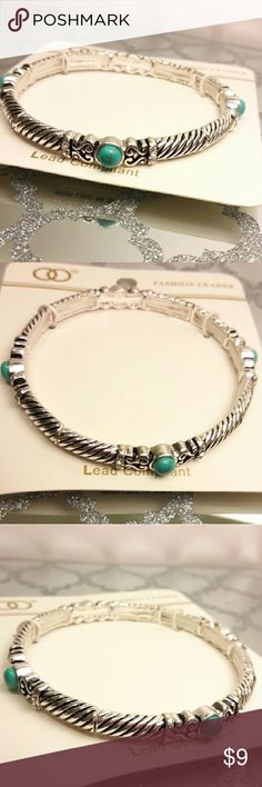 """Antique Silver/Turquoise Stretch Bracelet Product Details:   * Metal filigree turquoise stretch bracelet * Color : Antique Silver & Turquoise *  Size : 0.25"""" H * Stretchable * Nickle, Lead, Copper Free and Hypo-Allergenic * Imported Fashion Leader Jewelry Bracelets"""