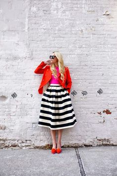 Blaise Eadie's style is never anything less than perfection! This colourful, striped, preppy get up ticks every box