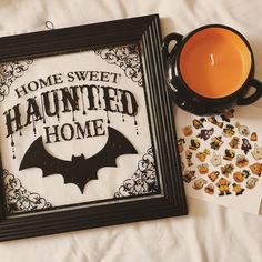 """Pinterest: @MagicAndCats ☾ payton taylor (@paytiepoo) on Instagram: """"this weekends haul-o-ween the haunted home sign and cauldron candle (has a bat on the front) is…"""""""