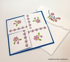 sweet 4 Corner Fold Up Card...closed with decorated envelope...tutorial available...