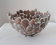 Beach Pebble Bowl, Stained Glass, Sea Glass Art, Sculpture