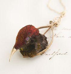 Victorian taxidermy hummingbird necklace