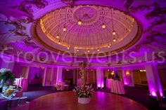 Purple uplighting at the Lenox Hotel in Boston by GrooveEvents.us
