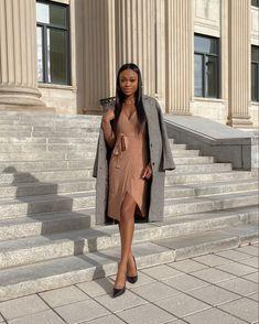 Midi Wrap Dress, Houndstooth Coat, Abercrombie