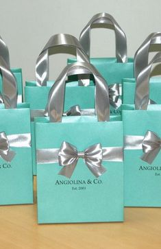 Bridal Shower gifts Bridesmaid's mint gift bag with satin ribbon bow & custom name. Glamorous Breakfast at Tiffany party favor. Wedding Gifts For Groom, Diy Wedding Favors, Bride Gifts, Bridesmaid Gift Bags, Personalized Bridesmaid Gifts, Breakfast At Tiffanys, Breakfast Ideas, Eat Breakfast, Tiffany Party