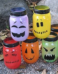 Halloween Mason Jar Lantern Light Craft Idea