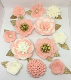 Hand made blush felt 3d flowers/roses & gold glitter leaves. Felt flower crown, flower headband, flower garland, baby headband, flower pack by cutzbothways on Etsy