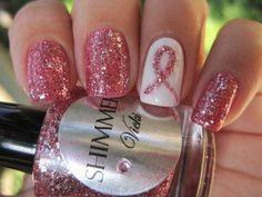 Shimmer pink cancer awareness nail design.