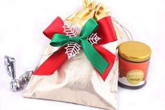 christmas gold bag with 9 assorted chocolates and a pack of cookies