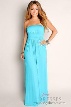 a1fbd2ebea3 Sexy Aqua Blue Life s A Beach Flowy Empire Waist Tube Top Maxi Dress  Talles  S