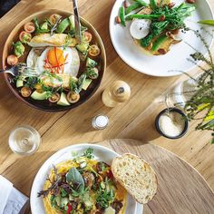 Top Paddock, Melbourne. +Pan fried snapper on a corn tortilla. +Potato, leek and jamon omelette. +Grilled broccolini with heidi raclette, poached eggs and almonds.  #toppaddock