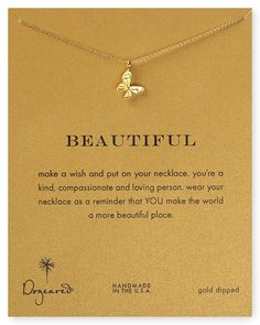 """Dogeared Beautiful Butterfly Reminder 18"""" Boxed Necklace - Gold Dipped"""