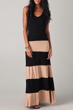 Scoop Neck Color Block Stripes Maxi Dress