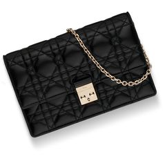 """""""MISS DIOR"""" WALLET ON CHAIN POUCH IN BLACK LAMBSKIN ❤ liked on Polyvore featuring bags, wallets, christian dior bags, pouch wallet, christian dior, lambskin bag and lambskin wallet"""