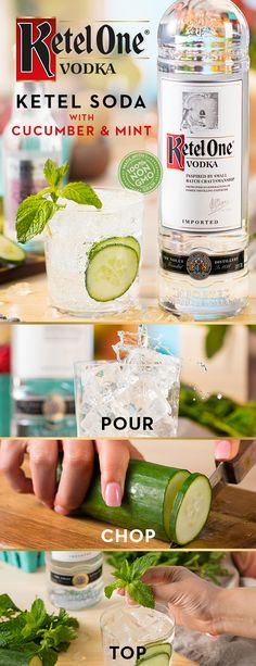 Ketel your soda just in time for fall. This smooth cocktail is as easy as pour, chop, and top! Ketel One® Vodka is made from 100% non-GMO grain, and makes a great Ketel Soda. Add cucumber & mint for extra flavor without the calories. To make, simply pour 1.5 oz Ketel One® Vodka into a glass over ice. Add in thinly sliced cucumber, top with 3 oz club soda, and garnish with mint sprig. This recipe is made for relaxing at home or enjoying a night out with the girls.