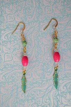 Modern earrings Pink and Blue Gold plated earrings
