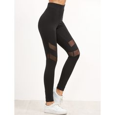 bca66c8638146 SheIn(sheinside) High Waist Leggings With Mesh Panel Detail ($13) ❤ liked