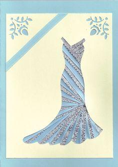 Ribbon Iris Fold Card - Dress in Silver and Blue