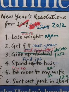 Updated New Year's resolutions...
