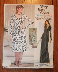 Vintage Vogue Diane Von Furstenberg Wrap Dress Pattern 1548 Size 12 Cut
