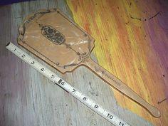 Vintage Bakelite Celluloid Hand Mirror Butterscotch Marbled Brown $10.00