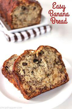 Easy Banana Bread Easy Banana Bread, Easy Bread, Banana Bread Recipes, Cake Recipes, Dessert Recipes, Donuts, Nut Bread Recipe, Crust Recipe, Delicious Desserts