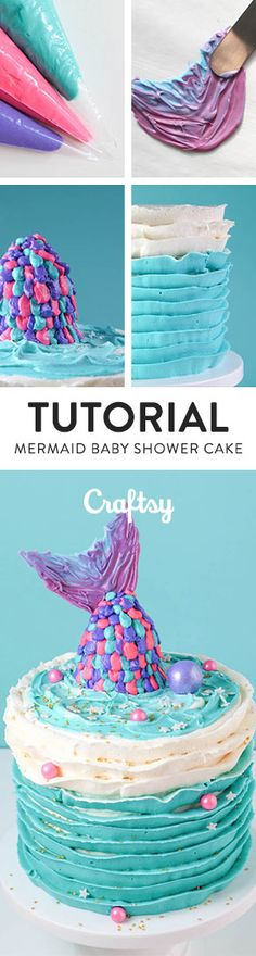 Love the mermaid cakes that are trending right now? Here's a step-by-step tutorial for how to make one at home! (It's easier than you'd think!) @craftsy