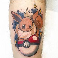 Eeevee tattoo by Jaclyn Huertas. Eeevee tattoo by Jaclyn Huertas. Pretty Tattoos, Love Tattoos, Tattoo You, Body Art Tattoos, New Tattoos, Pokemon Tattoo, Pokemon Sleeves, Fotos Do Pokemon, Video Game Tattoos