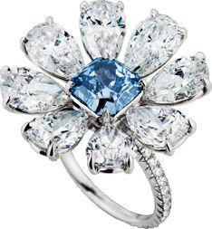 Fancy blue diamond, white diamond, and platinum ring. Sapphire Wedding Rings, Blue Sapphire Rings, Diamond Jewelry, Silver Jewelry, Marquise Diamond, High Jewelry, Jewellery, Colored Diamonds, 925 Silver