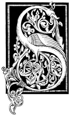 Dragon Drawings - Initial from a German Ornament   - Vintage Images of  Dragons, Mythical Creatures and Symbolic Objects. $3.50, via Etsy.