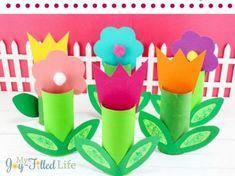 cardboard tube spring flower - acraftylife.com - 20 plus spring crafts #kidscraft