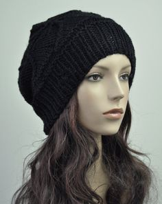 hand knit wool Hat Black woman hat by MaxMelody on Etsy, $32.00