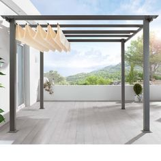 Retractable canvas pergola cover. Love this for shade over decks or near the pool. #PinMyDreamBackyard