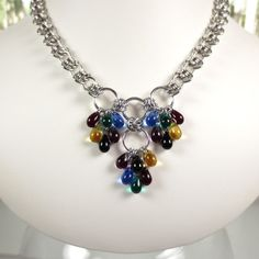 Barrels of Teardrops Chain Mail Statement Necklace, Jewel tones Czech Glass Barrel Weave Chainmaille Jewelry