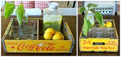 Old Coca-Cola crate turned drink tray. 4men1lady.com