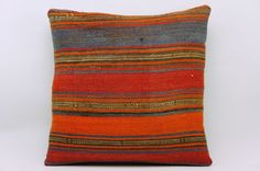 16x16 Vintage Hand Woven Kilim Pillow 835  orange by GalenUnique, $35.00