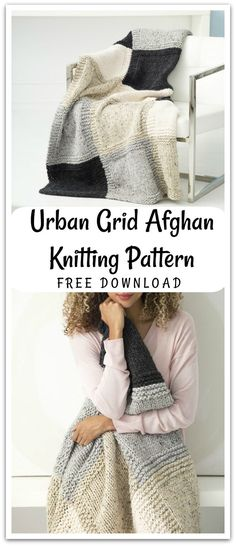Get started on this Urban Grid Afghan knitting pattern with Wool-Ease Thick & Quick yarn. Free digital download. #ad #affiliate #knitting #pattern