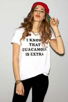 Local Celebrity Guacamole Schiffer Tee in White. Take that Chipotle. ShopTheTrendBoutique.com