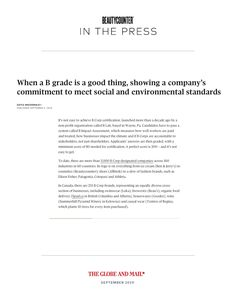 "The Globe & Mail included Beautycounter in their recent article celebrating Canadian B Corps titled ""When a B Grade is a Good Thing."" Read the article attached. A Decade, Globe, Good Things, Reading, News, Speech Balloon, Word Reading, Reading Books, Libros"
