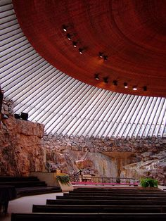 "Temppeliaukio, ""Rock Church"", Helsinki, Finland. A huge copper ""wok pan"" floating above your head. Photo by strangebehaviour on Flikr."