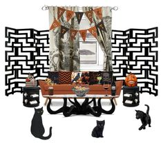 """""""Waiting For the Trick or Treaters"""" by fairieprincessgoddess ❤ liked on Polyvore featuring interior, interiors, interior design, home, home decor, interior decorating, Universal Lighting and Decor, Thomaspaul, Joybird Furniture and Fantastic Craft"""
