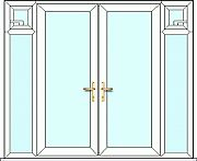 French Door 2 side panels and opening sash windows, fully made to measure. Design, quote and order online easily with Just Value Doors today. Kitchen Doors, French Doors, Sash Windows, Upvc French Doors, Locker Storage, Patio Doors, External French Doors, Doors, Cheap French Doors