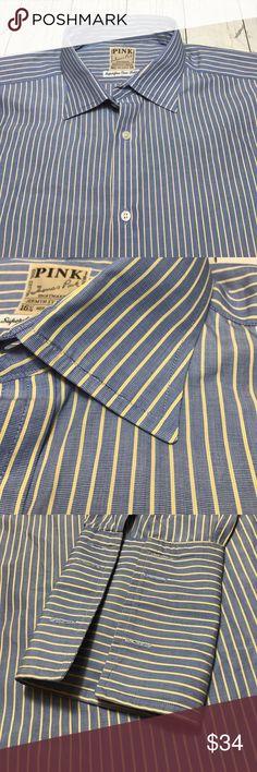 Thomas Pink French Cuffs Men's Blue 16 1/2 34 Thomas Pink Dress Shirt 16 1/2 34 Blue/White Stripe Button Front French Cuff  Thanks for looking!  E Thomas Pink Shirts Dress Shirts