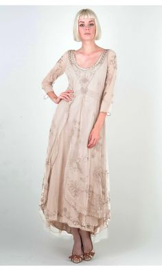 Lovely and inspiring Edwardrian dress  http://wardrobeshop.com/content/nataya-40163-downton-abbey-tea-party-gown-pearl  #vintage #dress #vintagedress