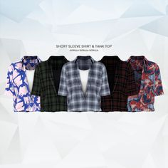 Short Sleeve Shirt & Tank Top for The Sims 4 - DecoTips Sims 4 Men Clothing, Sims 4 Male Clothes, Sims 4 Hair Male, Sims 4 Cas, Sims Cc, Maxis, Sims 4 Challenges, Cc Top, Tank Top Shirt