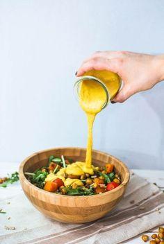 Turmeric tahini dressing, creamy vegan salad dressing perfect for warming winter salads!