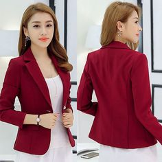 Womens Solid Suit Blazer Jacket Coat Casual OL Lady One Button Slim Tops Outwear