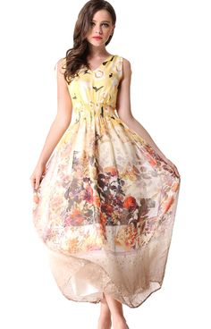 Yellow Shoulder Strap Floral Bandeau Silk Dress