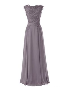 Diyouth Long Bridesmaid Chiffon Prom Dresses Scoop Evening Gowns with Appliques Grey Size 2 Diyouth http://www.amazon.com/dp/B00LQMPPPG/ref=cm_sw_r_pi_dp_-Cbevb18YDKRE