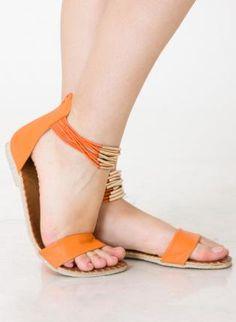 Orange Cord Flat Sandals,  Shoes, flat sandals  bright, Chic